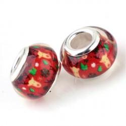 Perle en résine rouge avec Renne style Pandora - à l'unité