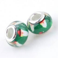 Perle en résine verte avec Père Noël style Pandora - à l'unité