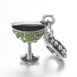 Charm pendentif verre à cocktail strass vert style Pandora - à l'unité