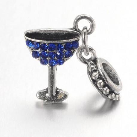 Charm pendentif verre à cocktail strass bleu style Pandora - à l'unité