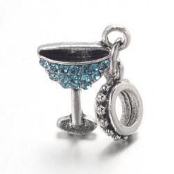 Charm pendentif verre à cocktail strass turquoise style Pandora - à l'unité
