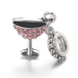Charm pendentif verre à cocktail strass rose style Pandora - à l'unité