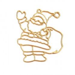 Pendentif contour Père Noël 50 x 43 mm, doré