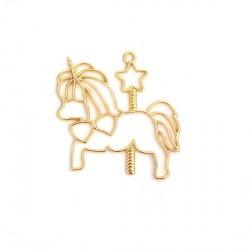 Pendentif contour Licorne manège 48 x 46 mm, doré