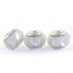 Perle en résine grises brillantes avec ruban style Pandora - à l'unité