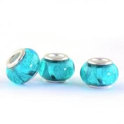 Perle en résine turquoise brillante avec ruban style Pandora - à l'unité