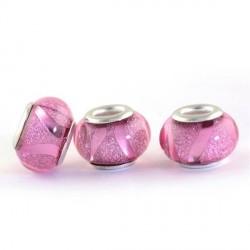 Perle en résine rose brillante avec ruban style Pandora - à l'unité