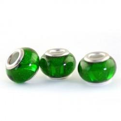 Perle en résine verte brillante avec ruban style Pandora - à l'unité