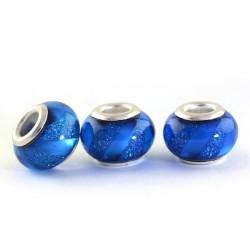 Perle en résine bleu brillante avec ruban style Pandora - à l'unité