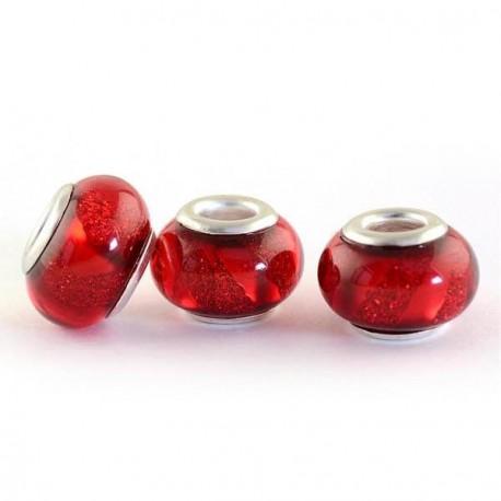 Perle en résine rouge brillante avec ruban style Pandora - à l'unité