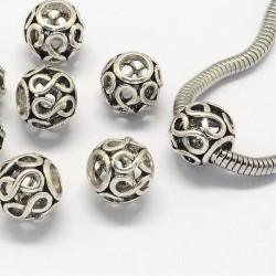 Métal perle ajourée infinie style Pandora - à l'unité