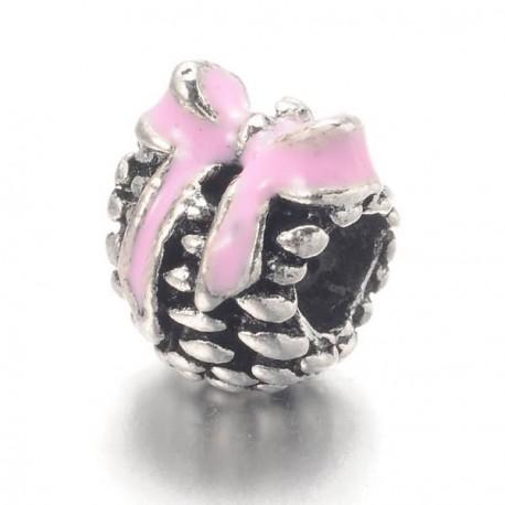 Métal Pomme de pain émail rose style Pandora - à l'unité