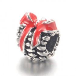 Métal Pomme de pin émail rouge style Pandora - à l'unité