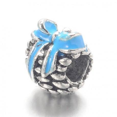 Métal Pomme de pin émail turquoise strass blancs style Pandora - à l'unité