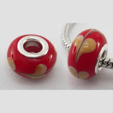 Perle de verre rouge avec coeur jaune style Pandora - à l'unité