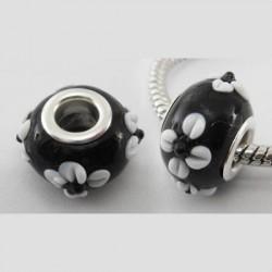 Perle de verre noire aux marguerites blanches style Pandora - à l'unité