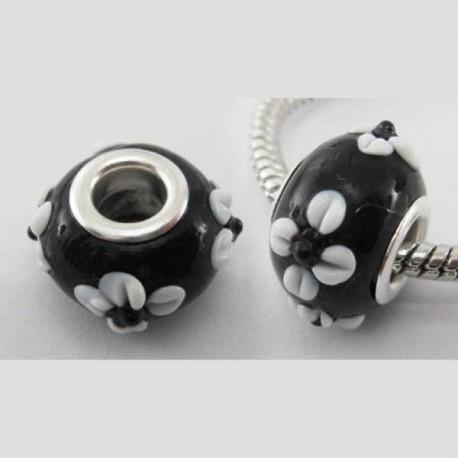 Perle de verre noire aux margurites blanches style Pandora - à l'unité