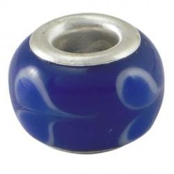 Perle de verre bleu au coeur bleu style Pandora - à l'unité