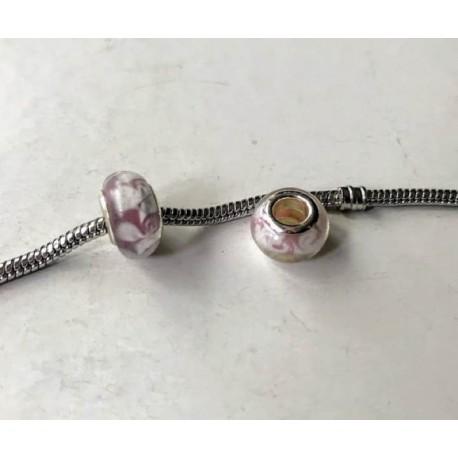 Perle de verre rose tourbillon blanc style Pandora - à l'unité