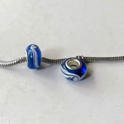 Perle de verre turquoise tourbillon blanc style Pandora - à l'unité