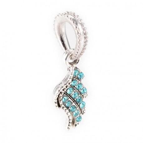 Charm pendentif aile strass turquoise style Pandora - à l'unité