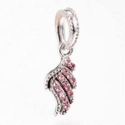 Charm pendentif aile strass rose style Pandora - à l'unité