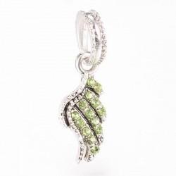 Charm pendentif aile strass vert style Pandora - à l'unité