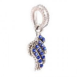 Charm pendentif aile strass bleu style Pandora - à l'unité