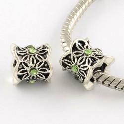 Métal perle Colonne aux feuilles strass vert style Pandora - à l'unité