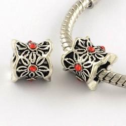 Métal perle Colonne aux feuilles strass rouge style Pandora - à l'unité
