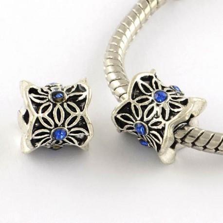 Métal Perle Colonne aux feuilles strass bleu style Pandora - à l'unité