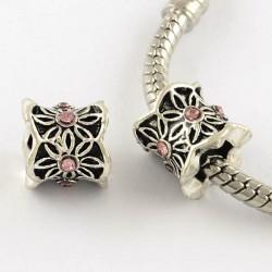 Métal perle Colonne aux feuilles strass rose style Pandora - à l'unité