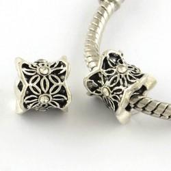 Métal perle Colonne aux feuilles strass blanc style Pandora - à l'unité