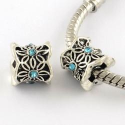 Métal perle Colonne aux feuilles strass turquoise style Pandora - à l'unité