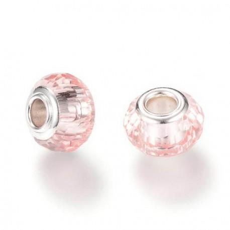 Perle de verre rose aux mille facettes style Pandora - à l'unité