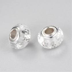 Perle de verre blanche aux mille facettes style Pandora - à l'unité