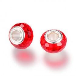 Perle de verre rouge aux mille facettes style Pandora - à l'unité