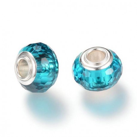 Perle de verre turquoise aux mille facettes style Pandora - à l'unité