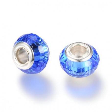 Perle de verre bleu aux mille facettes style Pandora - à l'unité