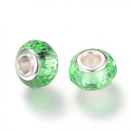 Perle de verre verte aux mille facettes style Pandora - à l'unité