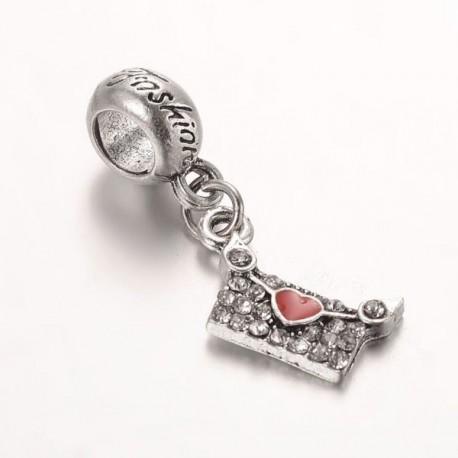 Charm pendentif Enveloppe strass rouge style Pandora - à l'unité