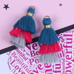 Pendentif 3 Pompons en coton, bleu, fuchsia, gris 3,3 cm