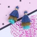 Pendentif 3 Pompons en coton, bleu foncé, kaki, turquoise 3,3 cm