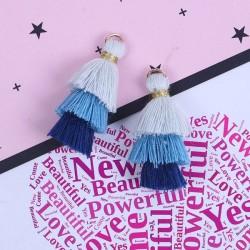Pendentif 3 Pompons en coton, tons bleus 3,3 cm