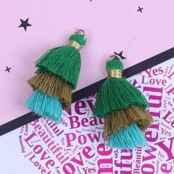 Pendentif 3 Pompons en coton, vert, kaki, turquoise 3,3 cm