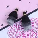 Pendentif 3 Pompons en coton, tons noirs et gris 3,3 cm