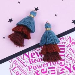 Pendentif 3 Pompons en coton, bleu, tons marrons 3,3 cm