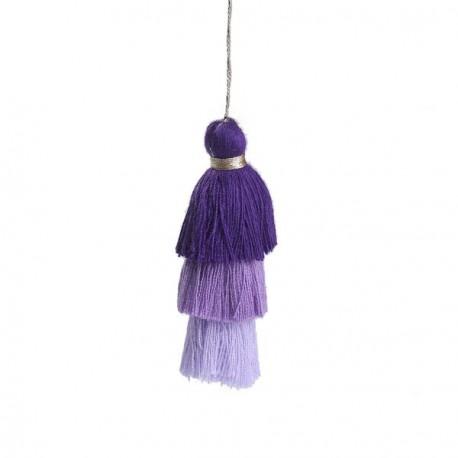 Pendentif 3 Pompons en coton, tons violets 7,5 cm