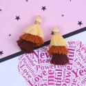 Pendentif 3 Pompons en coton, jaune, tons marrons 3,3 cm