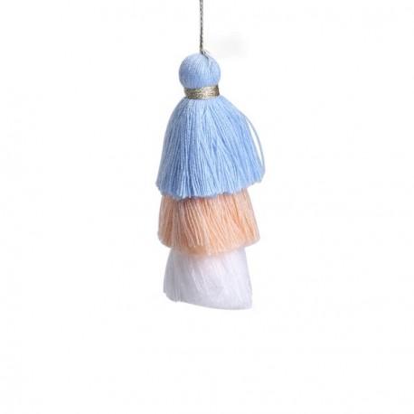 Pendentif 3 Pompons en coton, bleu, saumon, blanc 7,5 cm